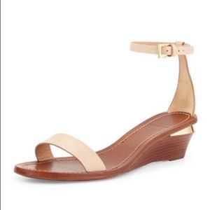 New TORY BURCH Maya Leather Wedge Ankle Sandals